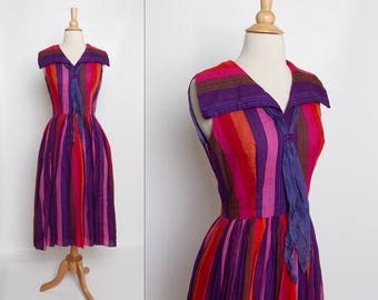 vintage 1950s carnival dress   striped 50s dress