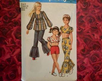 70's Vintage Child Bell Bottom Pants Sewing Pattern