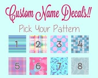 Custom Patterned Name Decal, Custom Name Sticker with Pattern, Name Sticker, Vinyl Name Decal, Custom Decal