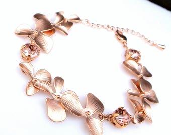 bridal bracelet wedding matte rose gold Flower orchid bracelet with swarovski vintage rose round crystal bridesmaid bracelet gift prom party