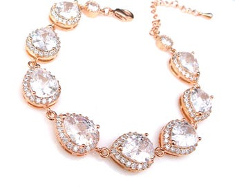 bridal bracelet wedding jewelry bridesmaid gift prom party pageant rose pink gold plated clear cubic zirconia halo teardrop pear bracelet