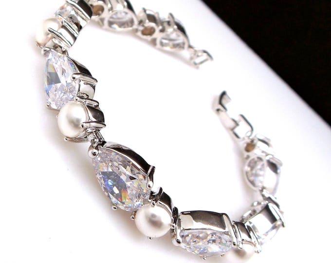 Wedding bracelet bridal bridesmaid gift Clear white rhodium teardrop cubic zirconia swarovski round cream white pearl tennis bracelet