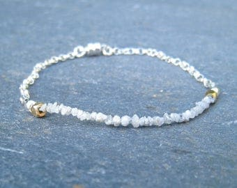 Rough Diamond Bracelet, diamond and Silver bracelet,  white diamond layering bracelet, delicate diamond bracelet,  delicate silver bracelet