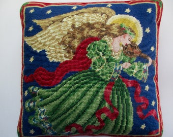vintage CHRISTMAS needlepoint PILLOW with Angel -violin, red velvet back, petit point