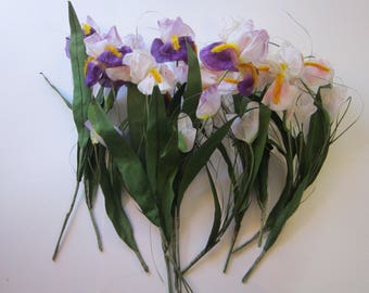 12 vintage artificial IRIS flowers - purple and pink with chenille trim