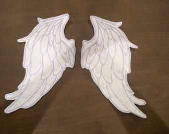 Pair of sparkly embroidered iron on wings patches