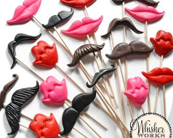 PLASTIC - Photobooth Prop Kit - Set of 20 Mustaches and Smiles - Photo Prop Set