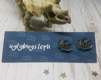 Triceratops Skull Dinosaur Earrings