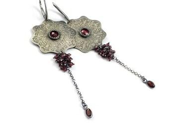 Garnet earring, long silver earring, etched silver, dangle burgundy earring, metalwork jewelry, mandala earring