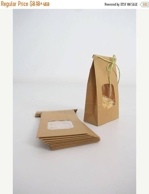 ON SALE Kraft Tin Tie Bags - Set of 10 w/ window - Coffee Bags, Treat Bags, Window Bags, Wedding Favor Bags, Cookie Bags, Product Packaging