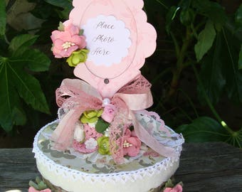 bridesmaids gift box keepsake jewelry box for friend pink and green floral paper mache gift box paper mache trinket box shabby chic