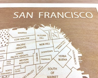 San Francisco Neighborhood Map, Bestfriend Gift Newly Engaged Couple Gift, Mothers Day Gift for Mom, sister in law gift, California Bay Area