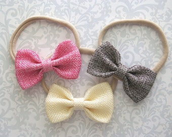 Burlap Bow Headband, Burlap Bows, Burlap Baby Bow, Fall Bows, Fall Baby Bows, Baby Headband, Toddler Bows, Toddler Headband, Baby Girl Bows