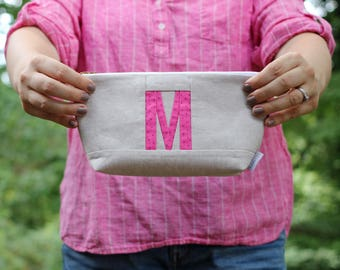 Initial Clutch, Custom Monogram Pouch, Initial Bag, Personalized Makeup Bag, Initial Makeup Pouch Monogrammed Gifts for Women Custom Initial