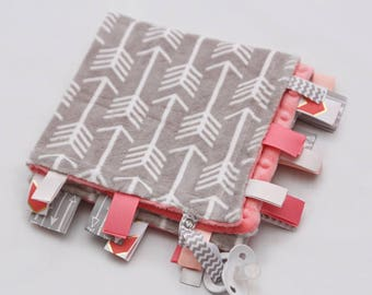 Baby Ribbon Tag Blanket - Minky Binky Blankie - Grey and White Arrows with Coral