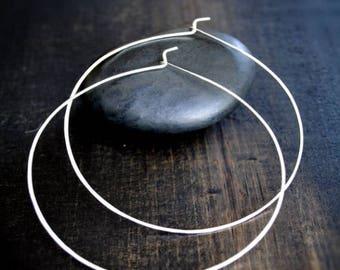 Thin silver hoop earrings, Med, Large, XL, Really Big