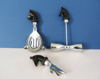 1960's Horse bar set spirit measure strainer and bottle opener