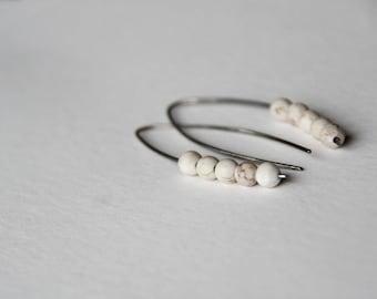 White turquoise -  sterling silver open hoop earrings