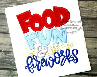 Food FUN and Fireworks applique
