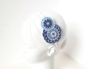 Blue Folk Art Headband | Baby Shower Gift, Newborn Photo Prop, Spring, Elastic Hair Band, Cute, Child, Accessory, Abstract, Artsy, Modern |