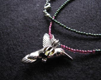 Hummingbird necklace silver | beaded | pearl cage | garnet | gemstone | yellow pearl