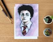 Harry Potter - Art Postcard. Watercolour Illustration. Gryffindor. Stationary.