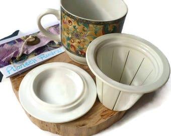 Bridal Shower Tea Party Favors, Japanese Pottery, Tea Party Favors, Cup with Tea Strainer, Cup with Lid, Bridal Shower Favor