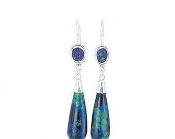 Summer Sale : ) AZURITE EARRINGS Large Teardrops Sterling New World Gems