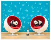 Mid century modern baby animal print: Space Pandas