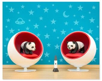 Mid century modern baby animal print: Panda Pods
