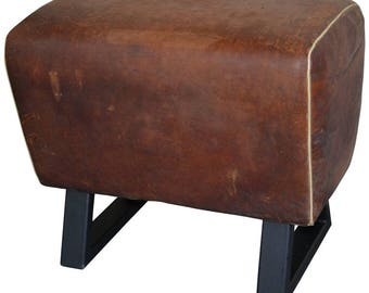 Bench Made from Leather Gymnastic Goat, with Steel Bracket Legs