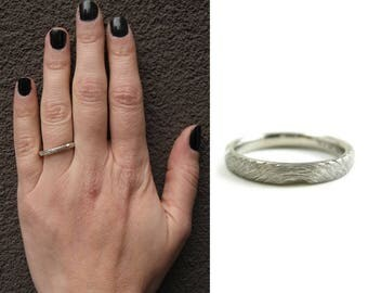 Woodland branch commitment ring womens | commitment band | recycled palladium commitment band | woodland wedding | mens commitment band