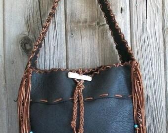 ON SALE Black leather tote , Black leather handbag , Big roomy tote
