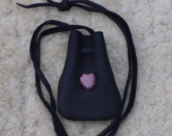 Black medicine bag with a glass heart bead focal point , simple heart amulet bag ,necklace pouch