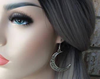 Boho Earrings For Women - Burning Man - Sexy Women Best Selling Item - Sterling Silver Crescent Moon Goddess Jewelry - Best Friend Gift