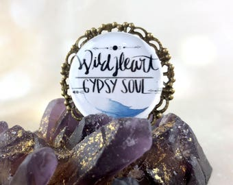 Large Boho Statement Ring - Gypsy Ring - Wild Heart Gypsy Soul - Free Spirit Hippie Gift For Women - Motivational Jewelry -Calligraphy Ring