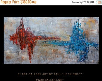 "17% OFF /ONE WEEK Only/ Modern Contemporary Abstract ""The Spark"" 48""x24"" by Paul Juszkiewicz"