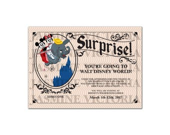 """Surprise you're going to Disney Vintage ticket invitation! Digital File Only 5"""" by 7"""""""