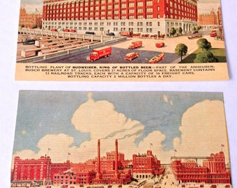 Two Vintage Unused Post Cards - Budweiser Brewery in St. Louis, MO