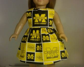 18 inch Doll Clothes University of Michigan Football Print Dress fits American Girl Doll Clothes Handmade