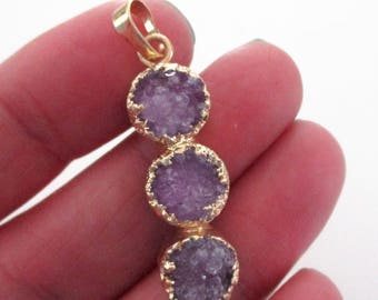 3 Tier Layering Round Druzy - Triple Stack Druzy Pendant - Long Geode Pendant - Gold Dipped - Natural Rough Stone - 1 PCS - Select Color
