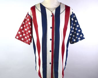 Red, White and Blue Baseball Style Jersey Shirt by Forenza