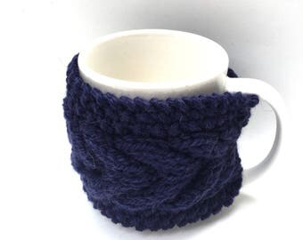 mug cozy knitted mug warmer blue cup cozy
