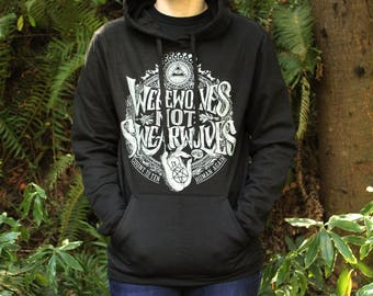 What We Do In The Shadows | Werewolves Not Swearwolves Pullover Hoodie | Hand Screen Printed | Available in Plus Sizes