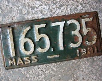 1931 Massachusetts License Plate