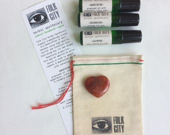 Folk City Herbal Apothecary Organic Aromatherapy Blended Oils: Set of Three with Carnelian