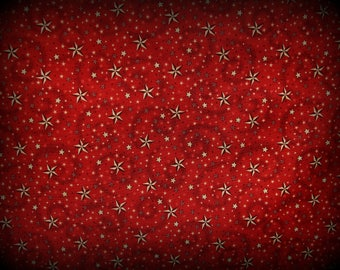 Stars Fabric, Red and Tan Stars, Half Yard, Stars Fabric, 52 Inches Wide, Red Black Tan Fabric, Quilt Material, Cotton Fabric, Stars Celest