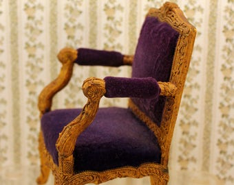 Miniature Victorian Chair Figurine or Small Doll Display Resin Purple Upholstery 5 inch