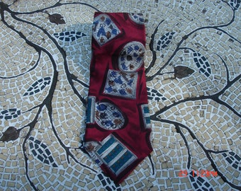 Vintage Don Loper of Beverly Hills Abstract Silk Necktie - Hipster Chic