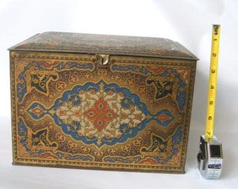 Vintage Art Deco Nouveau Heinz 57 Litho Tin Storage Box Persian Rug 11 x 8 Locks.